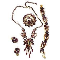 Vintage Juliana Book Piece Amethyst Givre Rhinestone Necklace Bracelet Brooch Earrings Grand Parure