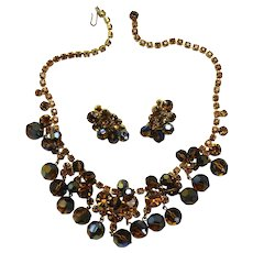 Vintage Juliana Book Piece Topaz Rhinestone Mink Crystal Bead Necklace Earrings Demi Parure