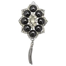 Vintage Juliana for Studio Girl Faux Hematite Cabochon Clear Rhinestone Brooch or Pin / Pendant