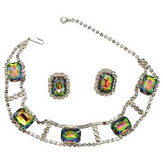 Vintage Juliana Watermelon Emerald Cut Rhinestone Dog Collar Necklace Earrings Demi Parure