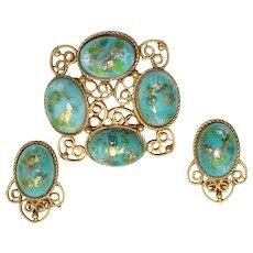 Vintage Juliana Book Piece Turquoise Easter Egg Stippled Cabochon Rhinestone Heart Scroll Brooch Earrings Demi Parure