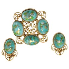 Vintage Juliana Book Piece Turquoise Easter Egg Stippled Cabochon Rhinestone Heart Scroll Brooch Earrings Demi Parure