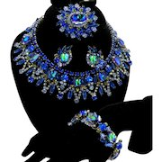 Vintage Juliana Book Piece Bermuda Blue Watermelon Rhinestone Collar Necklace, Brooch, Earrings, Bracelet Grand Parure