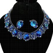 Vintage Juliana Bermuda Blue Rhinestone and Rivoli Collar Necklace Earrings Demi Parure