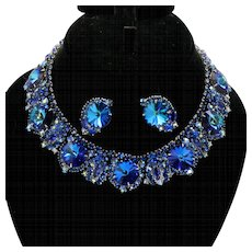 Vintage Juliana Bermuda Blue Rhinestone and Rivoli Collar Necklace Earrings Demi Parure