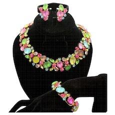 Vintage Juliana Frosted Pastel, Fruit Salad Rhinestone Collar Necklace, Bracelet Earrings Parure