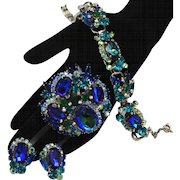 Vintage Juliana Book Piece Blue, Teal, Watermelon Rhinestone Bracelet, Brooch and Earrings Parure