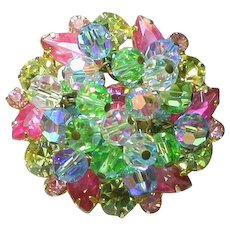 Vintage Juliana Pastel Pink Blue Yellow and Green Rhinestone Crystal Bead Cha-Cha Brooch