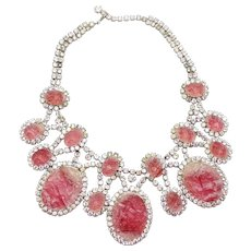 Vintage Juliana for KJL Book Piece Rose Pink Geode Clear Rhinestone Bib Necklace