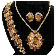 Vintage Juliana Book Piece Topaz Striped Givre Rhinestone Brooch / Pendant Necklace, Bracelet and Earrings Parure