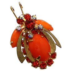 Vintage Juliana Book Piece Orange Cabochon Rhinestone Beetle Bug Brooch