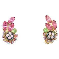 Vintage Juliana Book Piece Pink Peridot Rhinestone Polka Dot Bead Earrings