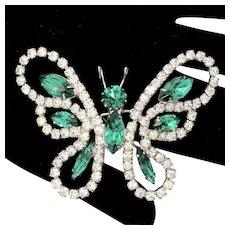 Vintage Juliana Green and Clear Rhinestone Butterfly Brooch