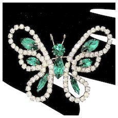 Vintage Juliana Green and Clear Rhinestone Butterfly Brooch
