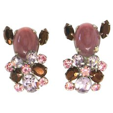 Vintage Schreiner Pink Mauve and Lavender Art Glass Cabochon and Rhinestone Earrings