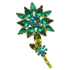 Vintage Juliana Book Piece Green Olivine Teal Rhinestone Flower Pillowcase Brooch