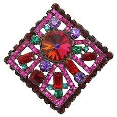 Vintage Juliana Book Piece Fuchsia and Red Neon Geometric Rivoli Rhinestone Square Brooch