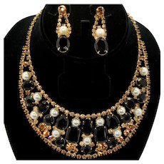 Vintage Juliana Black and Topaz Rhinestone and Faux Pearl Bib Necklace and Dangle Earrings Demi Parure