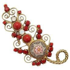 Vintage Juliana Red and Faux Opal Moroccan Matrix Rhinestone Heart Scroll Leaf Brooch