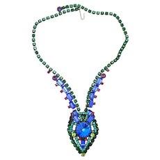 Vintage Juliana Book Piece Blue Neon Geometric Rivoli Rhinestone Necklace