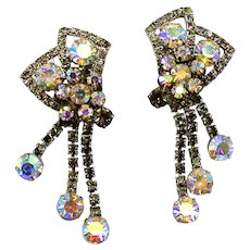 Vintage Large Juliana Gray and AB Rhinestone Bow Dangle Earrings