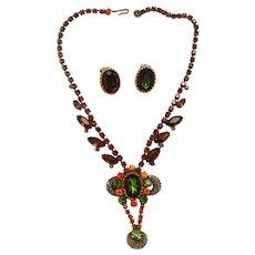 Vintage Juliana Book Piece Topaz Fall Watermelon Rhinestone Filigree Necklace Earrrings Demi Parure