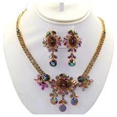 Vintage Foiled Glitter Faux Gemstone Cabochons Carnival Glass Rhinestone Necklace and Dangle Earrings Demi Parure