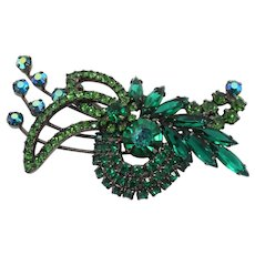 Vintage Juliana Book Piece Green and Peridot  Rhinestone Swirling Brooch