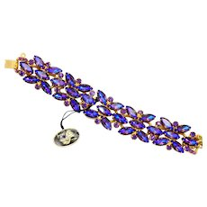Vintage Juliana Book Piece Peacock Purple Rhinestone Bracelet With Tag