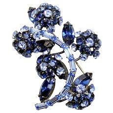 Vintage Schreiner Light and Dark Blue Rhinestone Flower Brooch