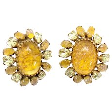 Vintage Schreiner Glitter Faux Opal Yellow Cabochon Rhinestone Earrings
