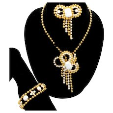 Vintage Juliana Book Piece Ball Chain White Milk Glass Bow Rhinestone Bracelet Brooch Necklace