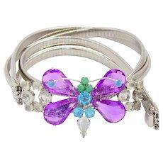 Vintage Schreiner Purple Aqua Blue Rhinestone Silver Toned Stretch Butterfly Belt