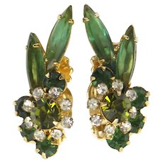 Vintage Juliana Olivine Green AB Rhinestone Navette Florette Earrings