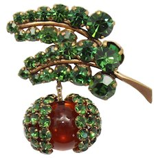 Vintage Schreiner Green Rhinestone Topaz Glass Bead Dangle Acorn or Fruit Brooch Figural