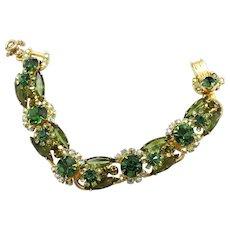 Vintage Juliana Olivine Green Peridot Rhinestone Florette Bracelet
