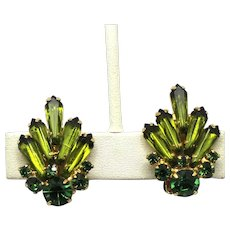 Vintage Juliana Olivine Green Spear Shaped Tapered Pentagon Rhinestone Earrings