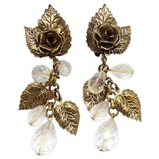 Vintage Juliana Metal Rose Dangling Clear Bead Earrings Book Piece