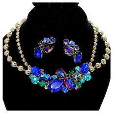 Vintage Juliana Bermuda Blue Watermelon, Teal Green Rhinestone Ball Chain Necklace Earrings Demi Parure Book Piece
