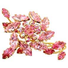 Vintage Schreiner Pink Rhinestone Trembler Flower Brooch