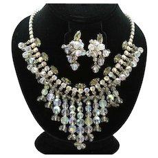 Vintage Juliana Gray AB Clear Rhinestone Crystal Bead Bib Necklace Dangle Earrings Demi Parure Book Piece