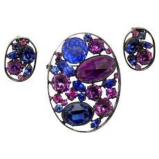 Vintage Schreiner Blue Purple Rhinestone Oval Metal Framed Brooch Earrings Demi Parure