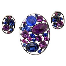 Vintage Schreiner Blue Purple Rhinestone Oval Metal Framed Brooch Earrings Demi Parure