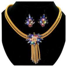 Vintage Juliana Blue Rhinestone Margarita Flower Mesh Necklace Earrings Demi Parure Book Piece