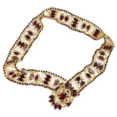 Vintage Juliana Red Clear Rhinestone Heart Scroll Belt