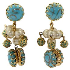 Vintage Schreiner Gold Striped Turquoise Blue Cabochon Rhinestone Faux Pearl and Bead Dangle Earrings