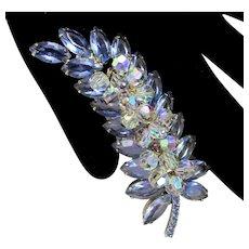 Vintage Large Juliana Blue Rhinestone AB Crystal Bead Leaf Shaped Brooch