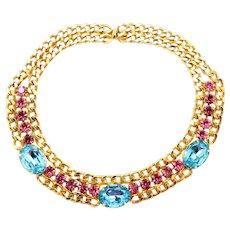 Vintage Juliana for Alexis Kirk Aqua Fuchsia Rhinestone Link Chain Necklace