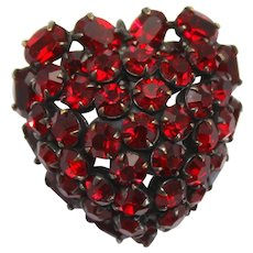 Vintage Schreiner Red Rhinestone Dimensional Heart Brooch Book Piece