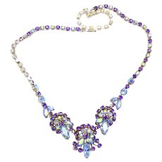 Vintage Sherman Purple and Alexandrite Rhinestone Necklace Book Piece